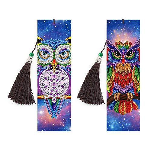Crystal Owl Bookmark Diamond Painting - pigpigboss 2 Pieces 5D DIY Diamond Painting by Numbers for Adults Owl Diamond Painting Kit Bookmark for Kids Book Decor (21 x 6 cm)