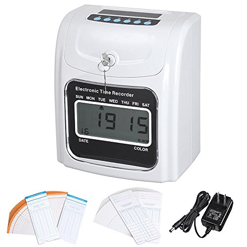 Yescom Employee Attendance Punch Time Clock Payroll Recorder LCD Display w/ 100 Cards