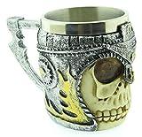 Calavera aterradora con taza de casco - resina - calavera - esqueleto - vikingo - 3d - halloween - acero inoxidable - cerveza guerrera - bebidas - cervecería - hombre - café - bar - idea de regalo