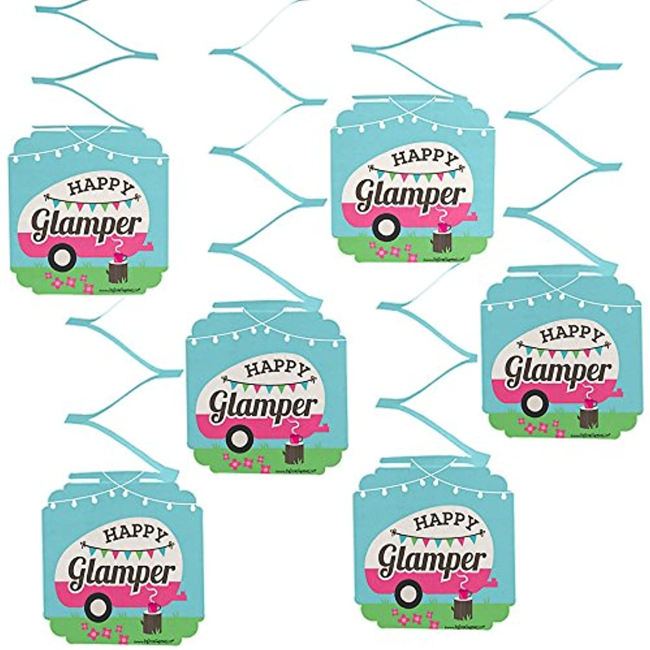 Let's Go Glamping - Camp Glamp Party or Birthday Party Hanging Decorations - 6 Count