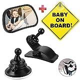 """IGRMVIN Espejo Retrovisor Bebé Coche 360° Ajustable Espejos para Asientos Traseros con Ventosa, Clip y Señal """"Baby on Board"""" Espejo retrovisor del Coche para Vigilar al Bebé en el Coche (8.7 x 5.5cm)"""