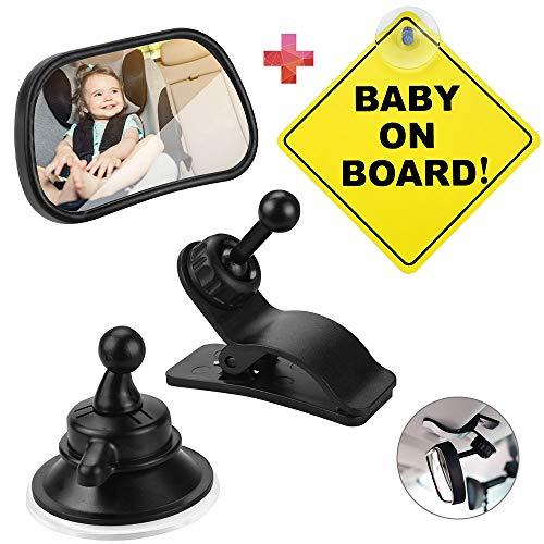 IGRMVIN Espejo Retrovisor Bebé Coche 360° Ajustable Espejos para Asientos Traseros con Ventosa,  Clip y Señal #Baby on Board# Espejo retrovisor del Coche para Vigilar al Bebé en el Coche (8.7 x 5.5cm)