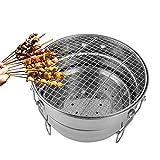 DJLOOKK Griglia per Barbecue da Tavolo, Griglia per Barbecue a Carbone Portatile, Griglia per Barbecue in Acciaio Inossidabile, Griglia per Barbecue per Fumatori, Griglia combinata per Fumatori