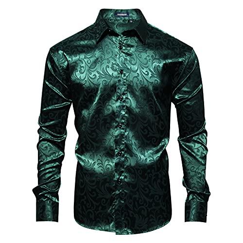 HISDERN Camicia a Maniche Lunghe Paisley Floreale da Uomo Moda Casual Camicie Eleganti Formali Bottoni in Seta Vestibilita Regolare Cerimonia per Matrimoni Party Verde M