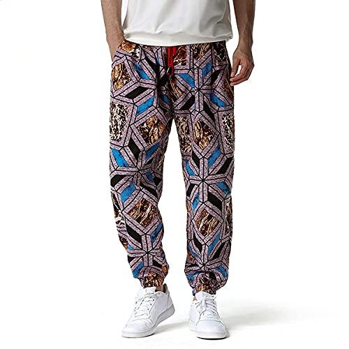 BBTRE Pantalones deportivos ligeros para hombre con estampado de harén y pantalones de chándal de algodón casual con cordón