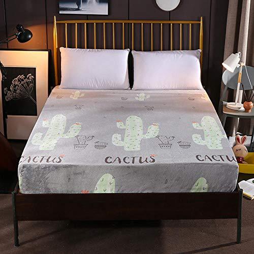 XGguo Protector de colchón - óptimo antiácarosSábana de Terciopelo Color sólido de una Sola Pieza Engrosamiento-Cactus_150cm × 200cm