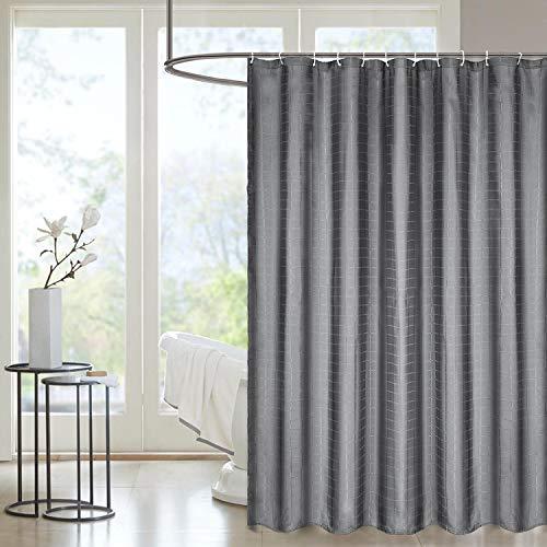 WisFox Duschvorhang Anti-Schimmel Anti-Bakteriell Wasserabweisend Shower Curtain maschinenwaschbar waschbar 100prozent Polyester Stoff mit 12 Duschvorhangringe 180 x 180 cm Grau Vorhang mit für Badzimmer