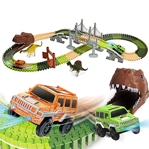 EagleStone Dinosaur Toys Race Track Set 194 PCS for Kids, Flexible Train Tracks with 2 Dinosaurs Figures,1 Bridge,2 Electric Cars Vehicle Playset with LED Lights,Best Gift for Toddlers Boys and Girls