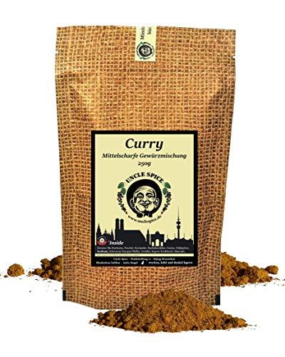 Uncle Spice Curry Gewürzpulver - 250g Currypulver nach altem indischen Hausrezept – Premiumqualität - Curry Pulver Madras Art ohne künstliche Zusätze, für Soßen, Eintöpfe und Currywurst