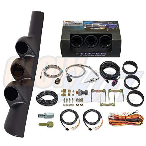 GlowShift Diesel Gauge Package for 1998-2002 Dodge Ram Cummins 2500 3500 - Tinted 7 Color 60 PSI Boost, 1500 F Pyrometer EGT & 30 PSI Fuel Pressure Gauges - Black Triple Pillar Pod