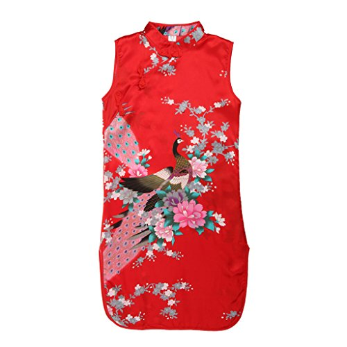 MagiDeal Muchachas Del Niño Vestido Clásico Floral Del Pavo Real Chino Del Qipao Cheong-sam Rojo # 8 - sam Rojo, # 8