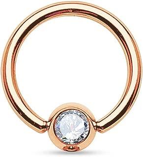 Rose Gold IP Over 316L Surgical Steel Gem Set Ball Captive Ring