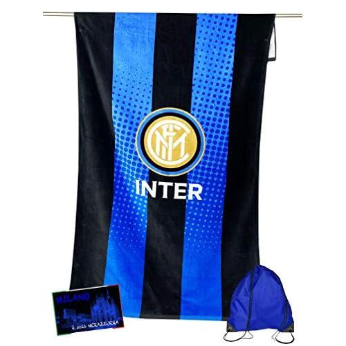 tex family Telo Mare Sport Inter Misura Grande Cm. 90 X 170 Originale Internazionale con Zaino PORTATELO e Cartolina
