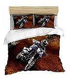 SSIN-Bedding Parure de lit 3D pour moto et enfant avec housse de couette et taie d'oreiller, 18, 135 x 200 cm