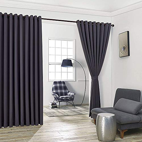 """WARM HOME DESIGNS Extra Large 2 Charcoal Wall to Wall Curtains 108"""" x 99"""" Each with 2 Matching Tie-Backs. Total Width is 216 Inches (18 feet). Great as Room Dividers or Partitions. N Charcoal Wall 99"""""""