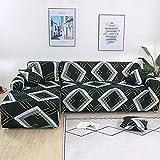 ELEOPTION - Funda de sofá elástica, conjunto de 2 fundas,para sofá de 3 personas en forma de L, incluye 2 fundas de cojín