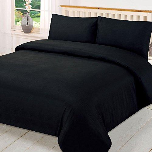 Brentfords Juego de Funda de edredón con Fundas de Almohada, Color Negro, súper King, 1 Juego de edredón (260 x 220 cm), 2 Fundas de Almohada (48 x 76 cm)