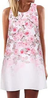 Summer Dresses for Women Vintage 3D Floral Bohe Tank Casual Short Mini Dress