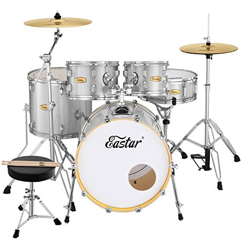 Eastar 20 Inch Drum Set for Adult Junior Teen, 5 Piece Professional Full Size Drum Kit with Cymbals Stands Stool and Sticks, Starry White