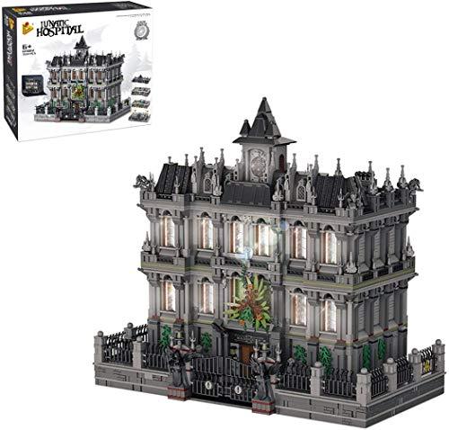 JIALI Ovitop-Architektur 7537 PCs Lunatic Hospital-Gebäude-Backstein-Kit mit Beleuchtung, Bauhaus-Modell-Kompatibel mit Lego