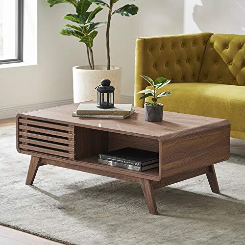 Mopio Ensley Modern Coffee Table, Mid Century Sleek Rectangular Design with Dual Side Storage, Wood Slat Door and Baby Proofing Rounded Edge for Sleek Living Room, Walnut Grain