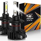 Pulilang Ampoules de phares avant de voiture à LED H7 Led lumière de voiture 60W 12000Lumens Phares étanches super lumineux Conversion Température de couleur 6500K IP65 COB