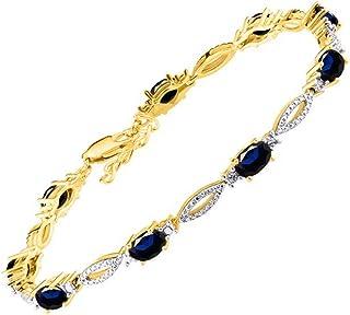 Impresionante pulsera de tenis de zafiro azul y diamantes en plata chapada en oro amarillo – ajustable para adaptarse a mu...