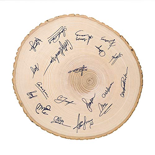 Casa Vivente Große runde Baumscheibe aus unbehandeltem Holz mit echter Rinde, Shabby Chic, Dekoration und Türschild, Geburtstagsgeschenk
