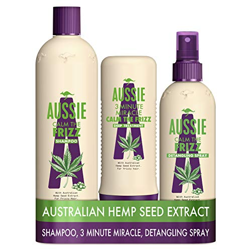 Aussie Calm The Frizz Shampoo with Conditioner for Frizzy Hair with Australian Hemp Seed Oil,...
