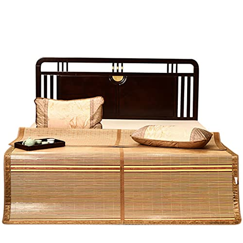 Verano Enfriamiento Almohadilla para Dormir,Esteras para Dormir De Bambú,Rollo Transpirable Plegable-hasta Cómodas Almohadillas De Colchón De Ratán para Habitación con Cama-Verano 180×195cm