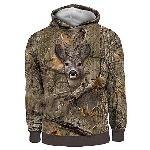 Sudadera con capucha para hombre, diseo de ciervos con capucha de camuflaje