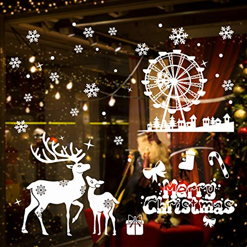 KATELUO Schneeflocken, Fensterdeko,Schneeflocken Fensterbild, PVC Aufkleber Winter Dekoration Weihnachten Fenstersticker,Geeignet für Haustüren, Fenster, Vitrinen usw. (2)