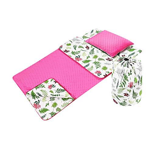 Babyboom Schlafsack für Kinder, Kindergarten, Zuhause, auf Reisen - MINKY + 100% Baumwolle Gr. 75x140 cm + Kissen 40x35 cm inkl. Tasche, handmade in EU (Pflanzen - pink)