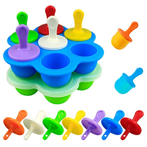 Mity rain Mini Silicone Pop Molds 7cavity DIY Ice Popsicle Mold With Sticks and Dripguards NonStick Popsicle Makers for Egg Bites Lollipop and Ice Cream Mould Baby Food Storage Container2 Pack