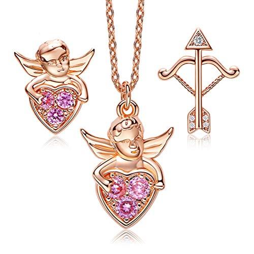 H.L Set di Gioielli in Oro Rosa 18 carati Collana e Orecchini in Argento Sterling Cupido con Diamante CZ per Le Donne