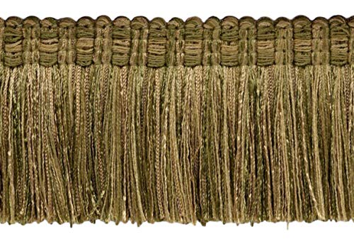 Veranda Collection 76mm Brush Fringe Trim Artichoke Green, Medium Gold Style#: 0300VB Color: Olive Grove - VNT15 Sold by the Yard (91cm / 3 Ft / 36\