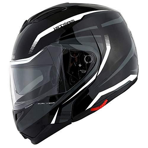 1Storm Motorcycle Street Bike Modular/Flip up Dual Visor/Sun Shield Full Face Helmet (MattBlack, Large)