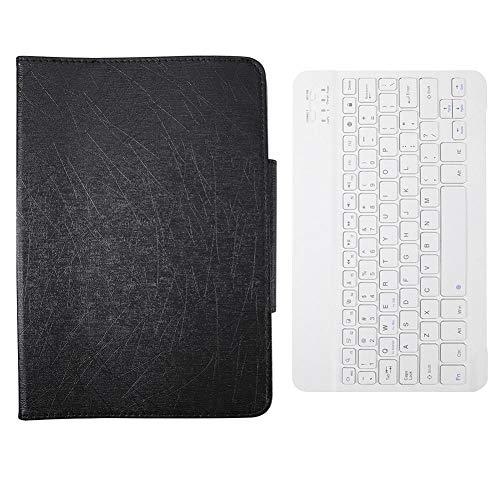 Xixihaha Portátil Cubierta Protectora de la Caja Protectora PU Universal de la Tableta de 10 Pulgadas de la Tableta + Teclado Bluetooth para Android/I.O.S/Win (Color : B+Withe, Size : 10 Inch)