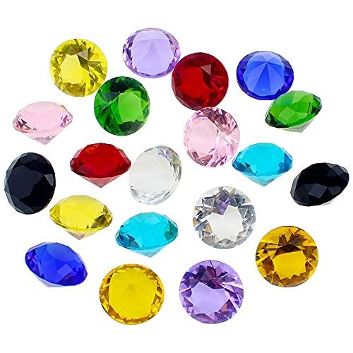 JPGhaha 20 Piezas Diamantes Decorativos Coloridos de Cristal 20mm Gema de Cristal...