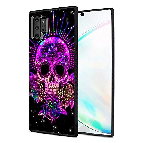 Samsung Galaxy Note 10 Plus Case - Purple Sugar Skull Shock-Absorption TPU Rubber Bumper Case Compatible with Samsung Galaxy Note 10 PlusThin Protective Outer Casing for Samsung Galaxy Note 10 Plus