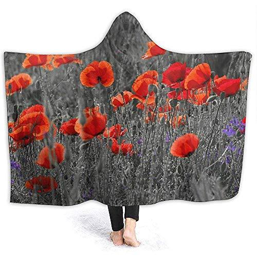 Flowering Flower Kapok-Decke mit Kapuze Superweiche Flanelldecke mit Kapuze Überwurfdecke mit Kapuze Robe mit Kapuze Umhang für das Spa Fernsehen