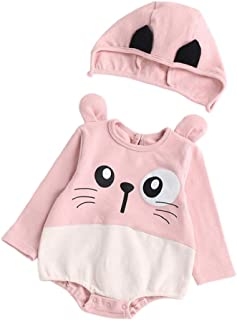 Boomboom Toddler Newborn Baby Boys Girls Cat Cartoon Hoodie Rompers Outfits Set