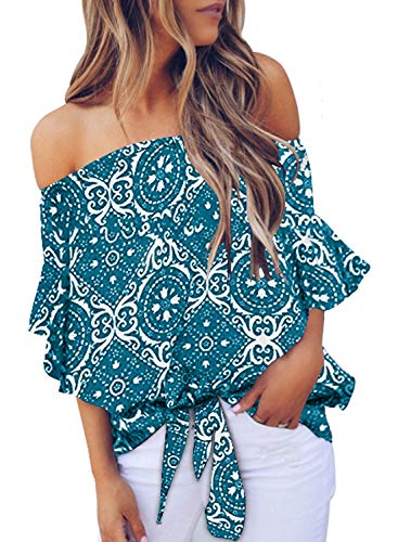 Elegant Sexy Off the Shoulder Tops,you will never out of style for our floral printed summer shirt,a perfect gift for your friends,roomate and yourself. Floral printed off the shoulder blouses with tie knot front,meet your fashion taste! Loose fit su...