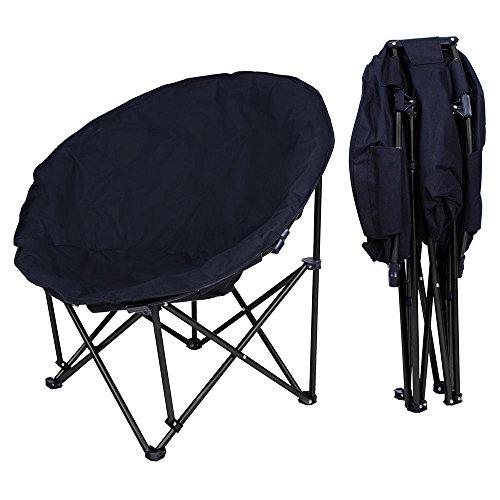 Yescom Portable Folding Moon Chair Saucer Padded Comfort Lounge Bedroom Garden Furniture Black Seat