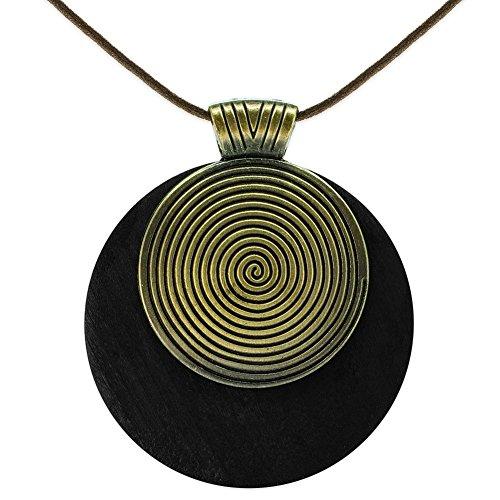 SoulCats® Halskette Spirale Holz Leder grün schwarz braun Natur naturell, Farbe:Schwarz