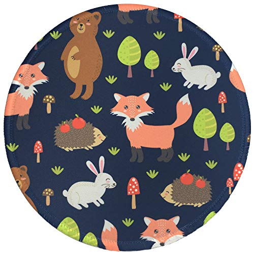 Mouse Pad, Personalized Round Mouse Mat, Small Circular Mouse Pad with Animal Design, Anti-Slip Rubber Mousepad with Stitched Edges, Cute Office Mouse Pad for Girls & Women, Fox
