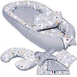 6-tlg PALULLI Baby Ausstattung-Set - Babynest mit Stillkissen, Baby-Matratze, Kuscheldecke, Flachkissen, Nackenkissen, kuschelweich für Babys (LAMA)
