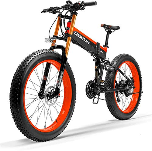 Electric Bike Electric Mountain Bike, 26 Inch Electric Bike Front & Rear Disc Brake 48V 1000W Motor with LCD Display Pedal Assist Bicycle 14.5Ah Li-ion Battery Upgraded to Downhill Fork Snow Bikes for