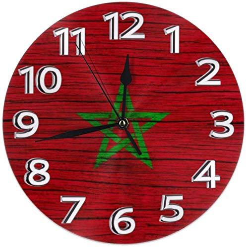 Marokko Holz Textur marokkanische Flagge unter dem Motto gedrucktes Muster Design Wanduhr Home Desk Art Schlafzimmer Dekor Dekorationen Nicht tickt