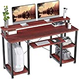 NOBLEWELL Computer Desk with Monitor Stand Storage Shelves Keyboard Tray,47' Studying Writing Table for Home Office (Cherry)